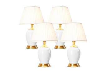 SOGA 4x Ceramic Oval Table Lamp with Gold Metal Base Desk Lamp White
