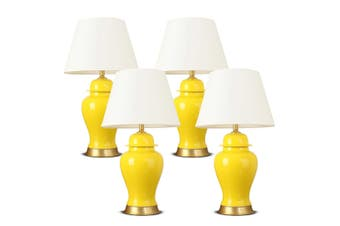 SOGA 4x Oval Ceramic Table Lamp with Gold Metal Base Desk Lamp Yellow
