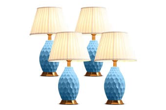 SOGA 4x Textured Ceramic Oval Table Lamp with Gold Metal Base Blue