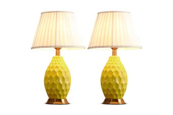 SOGA 2x Textured Ceramic Oval Table Lamp with Gold Metal Base Yellow
