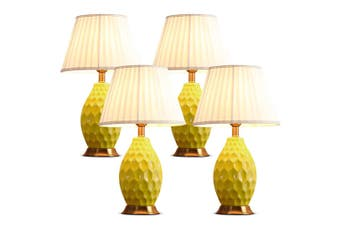 SOGA 4x Textured Ceramic Oval Table Lamp with Gold Metal Base Yellow