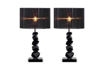 SOGA 2x 60cm Black Table Lamp with Dark Shade LED Desk Lamp