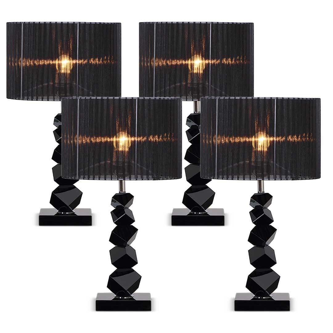 Soga 4x 60cm Black Table Lamp With Dark Shade Led Desk Lamp Matt Blatt