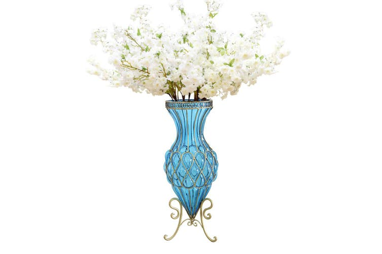 Dick Smith Soga 67cm Blue Glass Tall Floor Vase With 10pcs White Artificial Fake Flower Set Vases