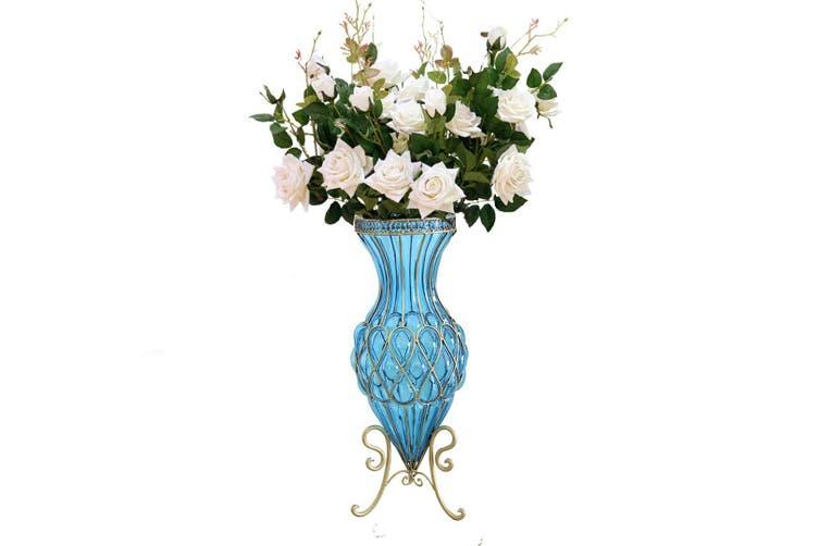 Soga 67cm Blue Glass Tall Floor Vase And 12pcs White Artificial Fake Flower Set Matt Blatt