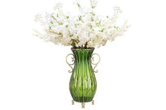 SOGA 51cm Green Glass Tall Floor Vase and 10pcs White Artificial Fake Flower Set