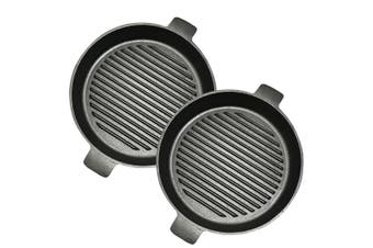 SOGA 2X 25cm Round Ribbed Cast Iron Frying Pan Skillet Non-stick Steak Sizzle Platter with Handle