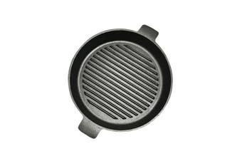 SOGA 26cm Round Ribbed Cast Iron Frying Pan Skillet Non-stick Steak Sizzle Platter with Handle