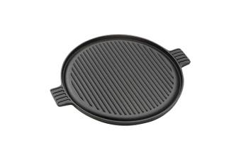 SOGA 43cm Round Ribbed Cast Iron Frying Pan Skillet Non-stick Steak Sizzle Platter with Handle