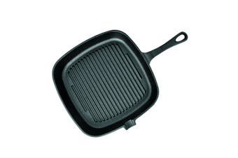 SOGA 23.5cm Square Ribbed Cast Iron Frying Pan Skillet Non-stick Steak Sizzle Platter with Handle