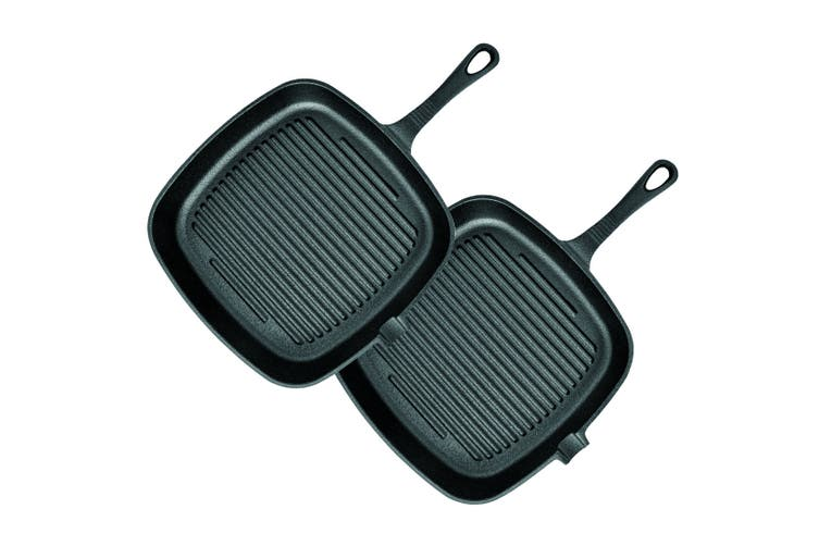 SOGA 2X 23.5cm Square Ribbed Cast Iron Frying Pan Skillet Non-stick Steak Sizzle Platter with Handle