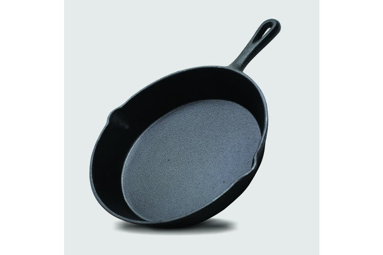 SOGA 26cm Round Cast Iron Frying Pan Skillet Non-stick Steak Sizzle Platter with Handle