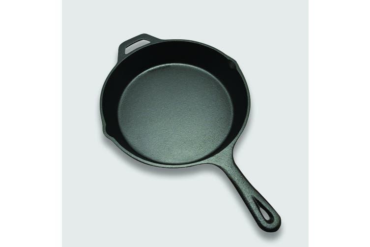 SOGA 26cm Round Cast Iron Frying Pan Skillet Non-stick Steak Sizzle Platter with Helper Handle
