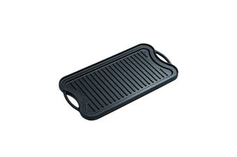 SOGA 50.8cm Cast Iron Nonstick Ridged Griddle Hot Plate Grill Pan BBQ Stovetop