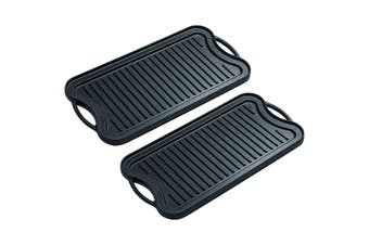 SOGA 2X 50.8cm Cast Iron Nonstick Ridged Griddle Hot Plate Grill Pan BBQ Stovetop