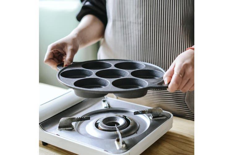 SOGA 31.5cm Cast Iron Non Stick Takoyaki Fry Pan Octopus Balls Maker 7 Hole Cavities Grill Mold