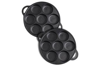SOGA 2X 31.5cm Cast Iron Non Stick Takoyaki Fry Pan Octopus Balls Maker 7 Hole Cavities Grill Mold