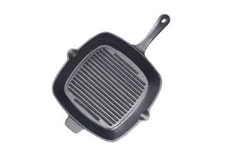 SOGA 26cm Square Ribbed Cast Iron Frying Pan Skillet Non-stick Steak Sizzle Platter with Handle