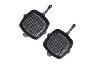 SOGA 2X 26cm Square Ribbed Cast Iron Frying Pan Skillet Non-stick Steak Sizzle Platter with Handle