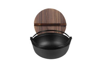 SOGA 25cm Cast Iron Japanese Style Sukiyaki Tetsu Nabe Shabu Hot Pot with Wooden Lid