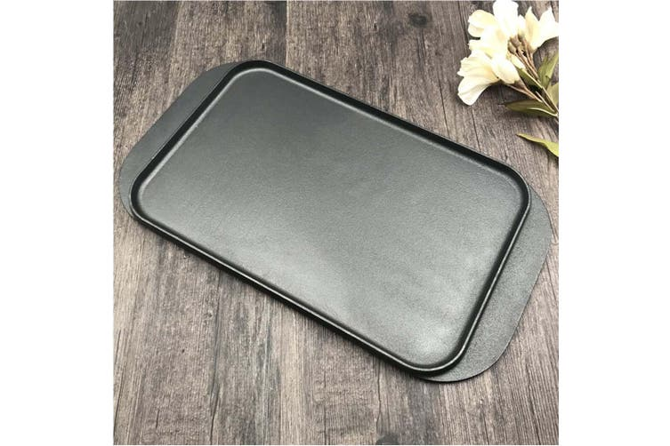 SOGA 47cm Cast Iron Nonstick Ridged Griddle Hot Plate Grill Pan BBQ Stovetop