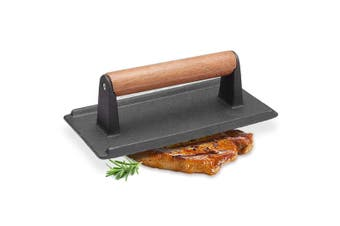 SOGA Cast Iron Bacon Meat Steak Press Grill BBQ with Wood Handle Weight Plate