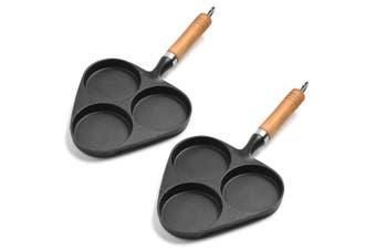 SOGA 2X 3 Mold Cast Iron Breakfast Fried Egg Pancake Omelette Non-stick Fry Pan