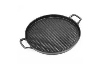 SOGA 30cm Ribbed Cast Iron Frying Pan Skillet Non-stick Coating Steak Sizzle Platter