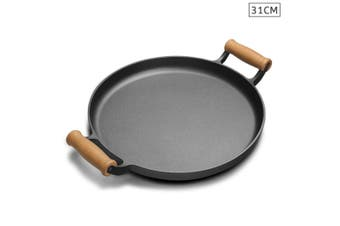 SOGA 35cm Cast Iron Frying Pan Skillet Steak Sizzle Fry Platter With Wooden Handle No Lid