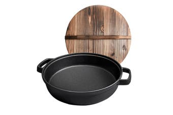 SOGA 29cm Round Cast Iron Pre-seasoned Deep Baking Pizza Frying Pan Skillet with Wooden Lid