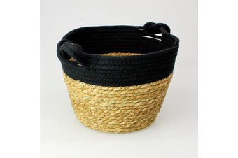 Seagrass Rope Storage Basket Black Small