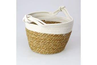 Seagrass Rope Storage Basket White Small