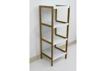 Bamboo White Box Shelving Unit 4 Tier