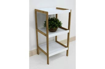 Bamboo White Box Shelving Unit 3 Tier