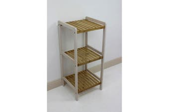 Bamboo White Slatted Shelving Unit 3 Tier