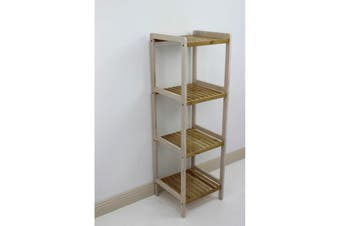 Bamboo White Slatted Shelving Unit 4 Tier