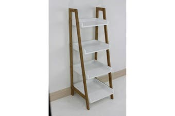 Bamboo Ladder Tray Shelving Unit 4 Tier