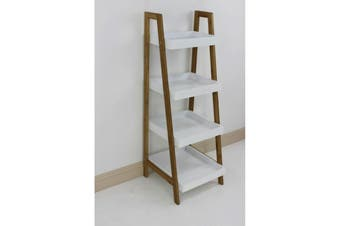 Bamboo Ladder Box Shelving Unit 4 Tier