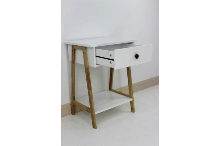 Wooden Bedside Table with Shelf