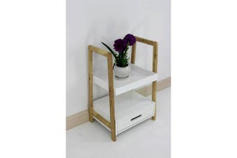 Wooden Shelving Unit with Drawer 2 Tier