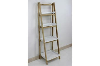 Wooden Tray Shelving Unit Fold Up 4 Tier