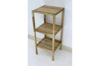 Wooden Slatted Shelving Unit 3 Tier
