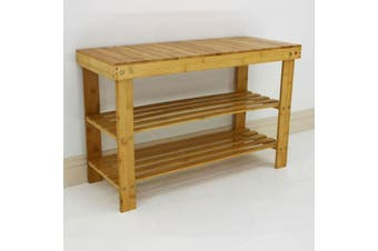 Bamboo Shoe Rack Bench 3 Tier