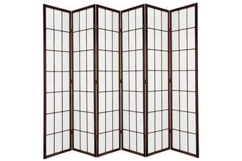 Shoji Room Divider Screen Brown 6 Panel