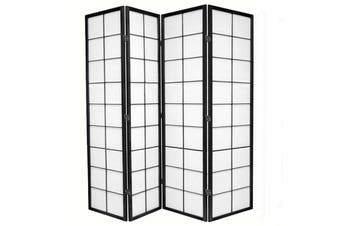 Zen Room Divider Screen Black 4 Panel