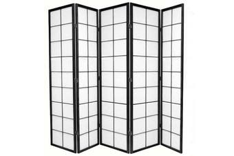 Zen Room Divider Screen Black 5 Panel