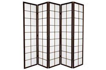 Zen Room Divider Screen Brown 5 Panel