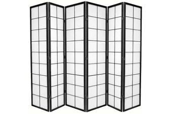 Zen Room Divider Screen Black 6 Panel