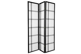 Cross Room Divider Screen Black 3 Panel