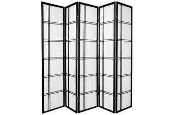 Cross Room Divider Screen Black 5 Panel